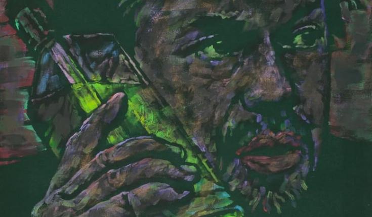 Юрій Ермоленко. Зелені очі абсенту. Посвята Гемінгвею. 2012. Полотно, авторська техніка. 90х80 см